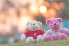 poupée de deux ours se reposant ensemble, jour du ` s de Valentine et concept d'amour Photographie stock libre de droits