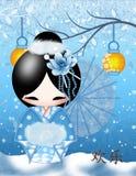 Poupée de Kokeshi de bonheur Image stock