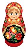 Poupée de Matryoshka avec la fleur o de la Russie Photographie stock libre de droits