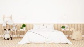 Poupée de renne et d'ours dans la chambre d'enfant ou le rendu de bedroom-3D illustration libre de droits