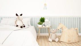 Poupée de renne et d'ours dans la chambre d'enfant ou le rendu de bedroom-3D illustration de vecteur