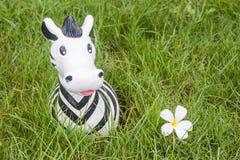 Poupée de zèbre sur l'herbe Image libre de droits