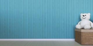 Poupée et boîte dessus sur le mur bleu Photos stock