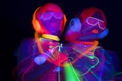 Poupée femelle de cyber de disco sexy au néon UV de lueur Images libres de droits