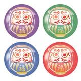Poupée japonaise de Daruma - ensemble chanceux d'icône d'article illustration stock
