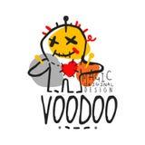 Poupée magique africaine et américaine de vaudou de logo avec des aiguilles Photographie stock libre de droits