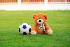 Poupée mignonne d'ours avec le football sur le champ de l'herbe Images stock