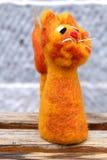 Poupée mignonne de lion de laine Photos stock
