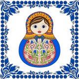 Poupée ornementale folklorique russe de matrioshka de vecteur Zentangle tiré par la main avec les ornements floraux et ethniques Photos stock