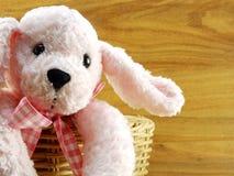 Poupée rose de chien dans le panier sur le fond en bois Image stock