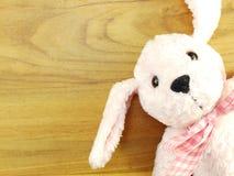 Poupée rose mignonne de chien sur le fond en bois Image libre de droits