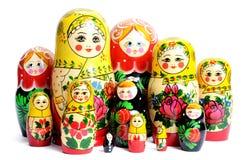 Poupée russe sur le blanc image libre de droits