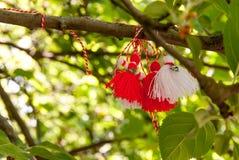 Poupées de Martenitsa accrochant dans arbre baba Marta jour le symbole de célébration du 1er mars Images libres de droits