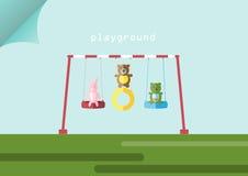 Poupées et oscillation animales sur des terrains de jeu, illustrations de vecteur Photo stock