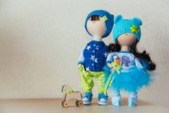 Poupées faites main décoratives frère et soeur Images libres de droits