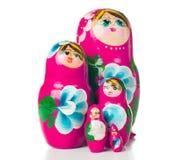 Poupées roses de Russe de matryoshka Images stock