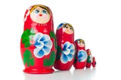Poupées rouges de Russe de matryoshka Photographie stock libre de droits