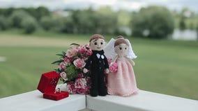 Poupées tricotées d'une jeune mariée et d'un marié se tenant devant un bouquet avec des anneaux de mariage dans une boîte rouge à clips vidéos