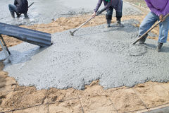 Pour the cement floor. Stock Image