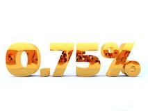 Pour cent au zéro absolu ou 0 d'or sept cinq 75 % avec le reflectio d'individu Photo stock