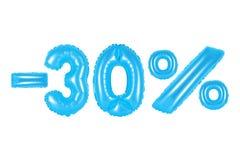 30 pour cent, couleur bleue Photographie stock libre de droits