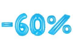 60 pour cent, couleur bleue Photos stock