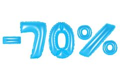 70 pour cent, couleur bleue Image libre de droits