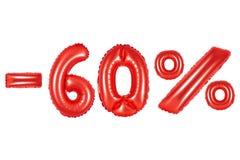 60 pour cent, couleur rouge Images libres de droits
