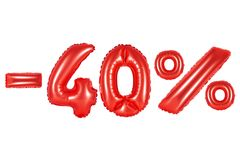 40 pour cent, couleur rouge Image libre de droits