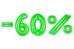 60 pour cent, couleur verte Image libre de droits