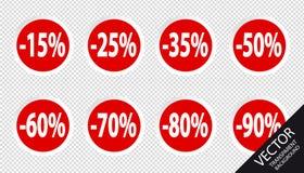 Pour cent d'étiquettes de prix discount réglés - boutons rouges de vecteur - d'isolement sur le fond transparent Illustration Stock