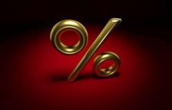 pour cent 3D d'or Images libres de droits