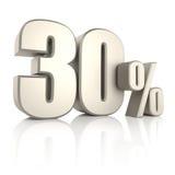 30 pour cent d'isolement sur le fond blanc 3d rendent illustration stock