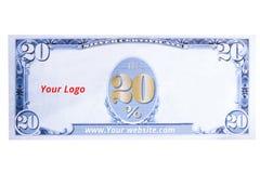 20 pour cent de bon de vente de blanc de style du dollar Photos libres de droits