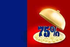 Pour cent de indication du bleu 75% de plateau d'or de service Images libres de droits
