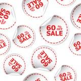 Pour cent de la vente 60% outre d'icône sans couture de fond de modèle d'autocollant B Photo stock