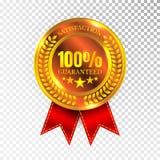 100 pour cent de satisfaction ont garanti le signe d'or de joint d'icône de label de médaille d'isolement sur le fond blanc Vecte Photographie stock