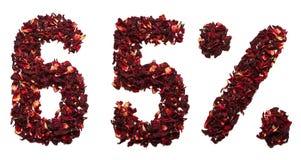 65 pour cent de thé de ketmie sur un fond blanc d'isolement Photographie stock libre de droits