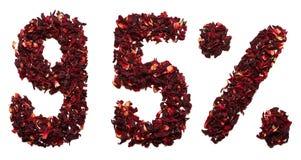 95 pour cent de thé de ketmie sur un fond blanc d'isolement Photo libre de droits