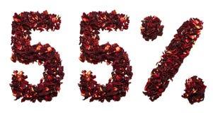 55 pour cent de thé de ketmie sur un fond blanc d'isolement Photo stock