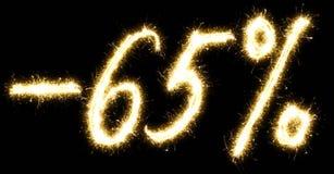 -65% pour cent de vente faits en cierge magique Images libres de droits