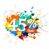 45 pour cent de vente Peinture d'éclaboussure illustration stock