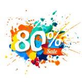 80 pour cent de vente Peinture d'éclaboussure illustration stock