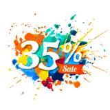 35 pour cent de vente Peinture d'éclaboussure Image libre de droits