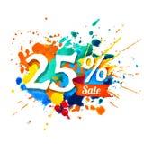 25 pour cent de vente Peinture de Ssplash illustration stock