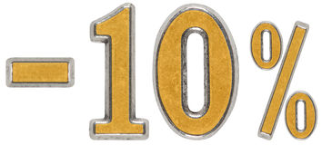 Pour cent  escompte Sans 10, dix, pour cent Chiffre en métal, Photos libres de droits