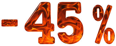 Pour cent  escompte Sans 45, quarante-cinq pour cent, chiffres i Images libres de droits