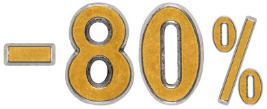 Pour cent  escompte Sans 80, quatre-vingts, pour cent Chiffre en métal Photo stock
