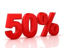 50 pour cent hors fonction Remise 50 % illustration 3d sur le fond blanc Photos libres de droits