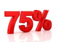 75 pour cent hors fonction Remise 75 % illustration 3d sur le fond blanc Photos stock